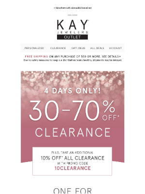 Kay Jewelers - Treat yourself & someone you love with 30-70% off clearance! 🙌