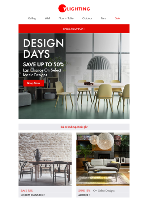 YLiving - Ends Midnight: Design Days - iconic brands.