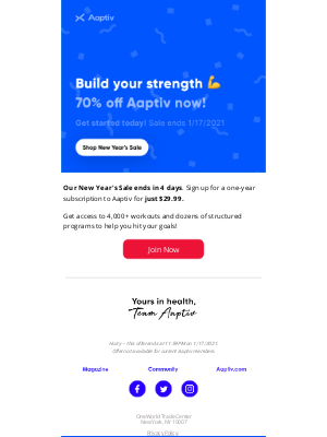 Aaptiv - 💪Sale: Get Stronger With Aaptiv And Save 70%