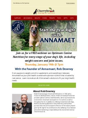 Cherrybrook Pet Supplies - TONIGHT: Start the Year Off Right With Annamaet