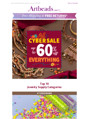 Artbeads - Top 10 Most Popular Jewelry Supplies in Fall Cyber Sale