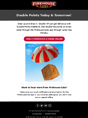 Firehouse Subs - Don't Forget! Double Points Today & Tomorrow 🔥