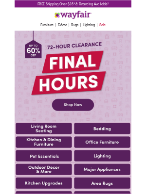 Wayfair - Finals hours   Clearance   Up to 60% OFF