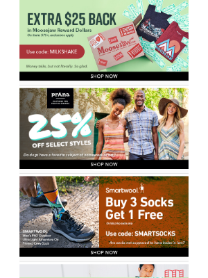 Moosejaw - Happy Friday 🎉 Extra $25 Back. Save on Prana & Smartwool.
