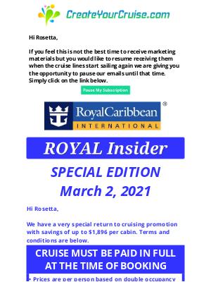 Norwegian Cruise Line - Rosetta - Royal Caribbean - 2021 Summer Exclusive