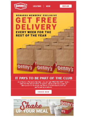 Get Denny's delivered free every week.