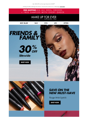 MAKE UP FOR EVER - Friends & Fam: Save On Our New Launch
