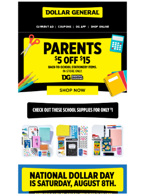 Find $1 deals on all classroom and homework supplies.