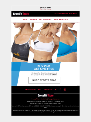 CrossFit Inc. - BOGO FREE sports bras.