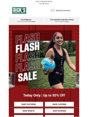 DICK'S Sporting Goods -  Up to 50% Off ⚠ Today Only​