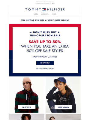 Tommy Hilfiger - Time is running out on 80% OFF