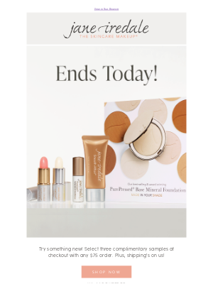 jane iredale - Pick 3 samples on us ends tonight!