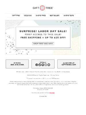 GiftTree - Labor Day Savings   Up to $25 off + Free Shipping
