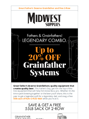 Midwest Supplies - Last Chance for Free Grain and up to 20% off Grainfather Systems