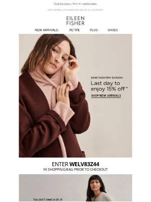 EILEEN FISHER - Last Day for Special 15% Off