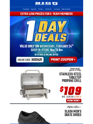 Big 5 Sporting Goods - $99 Multi-Position Utility Bench + Other One Day Deals, Wednesday Only!