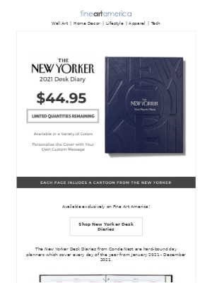 Fine Art America - The Official New Yorker 2021 Day Planner has Arrived - Exclusively at Fine Art America!