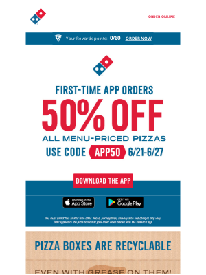 Domino's Pizza - 50% off 🍕 is just a Domino's app order away 📱