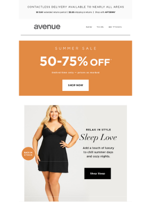Avenue Stores LLC - Your Fave Sleep is Back in Stock + 50-75% Off* Everything