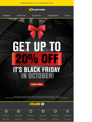 Easton Slowpitch - It's Black Friday (In October) At Easton.com! Get Up To 20% Off Now.