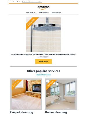 Amazon Prime - Shower head replacement service available