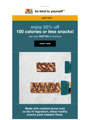 KIND Snacks - Last Day! 20% off 100 calories or less snacks