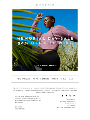 Danskin - Save 30% Site Wide! Our Memorial Day Sale Starts Now!