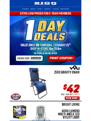 Big 5 Sporting Goods - $18 Teton +30° Mummy Bag + Other One Day Deals, Thursday Only!