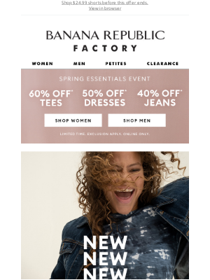 Banana Republic Factory - Be the first to shop our newest arrivals