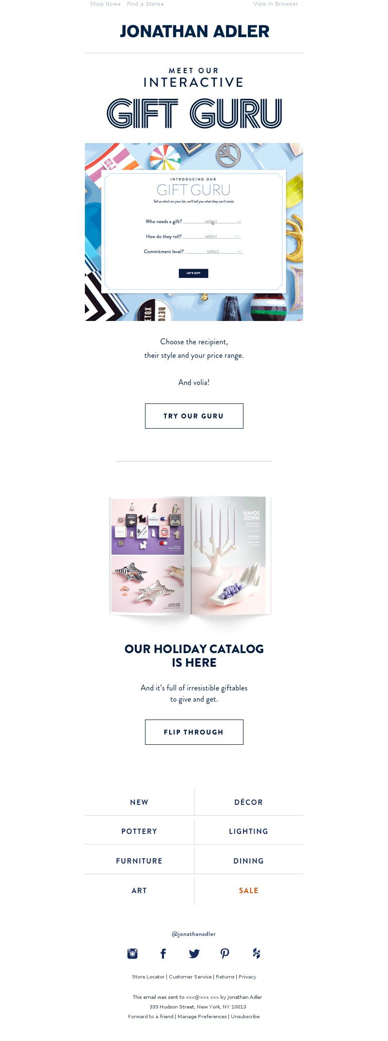Christmas email newsletter example from Jonathan Adler