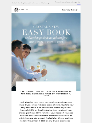 Crystal Cruises - Limited-time 15% Reduced Deposit on all 2021, 2022, 2023 & 2024 Cruises