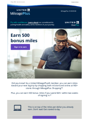 United Airlines - Here's your chance to earn500bonus miles