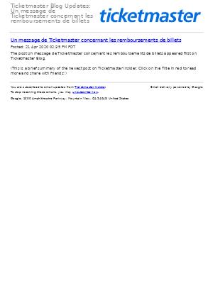 Ticketmaster Blog Updates: Un message de Ticketmaster concernant les remboursements de billets