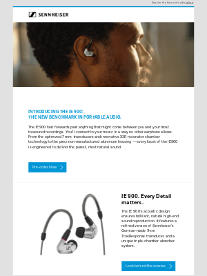 Sennheiser Electronic GMBH & Co. - New IE 900 - pre-order today!