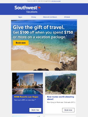 Southwest Vacations - Our gift to you: $100 off your next vacation