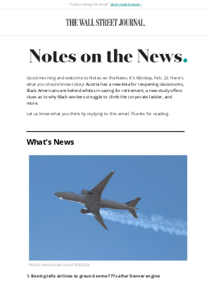 The Wall Street Journal - Notes on the News: Boeing Backs Grounding Some 777 Jets After Failure During United Flight