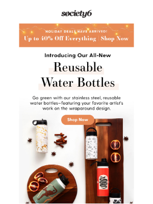 Society6 - Introducing... Our {All-New} Reusable Water Bottles