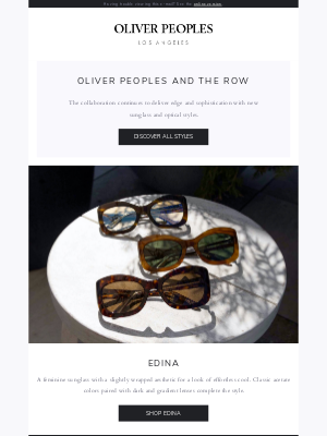 Oliver Peoples - New Collection: The Row