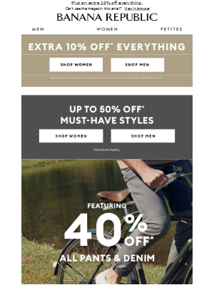 Banana Republic USA - Sunday Steals: Up to 50% off must-haves and more.