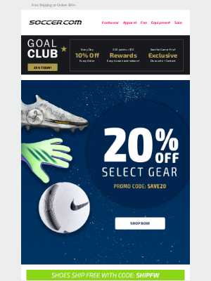 SOCCER - DON'T MISS OUT! Save 20% Off Select Gear When You Shop Now!
