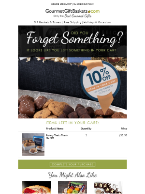 GourmetGiftBaskets - 🛒 You Left Something In Your Cart! - Order Now & Save