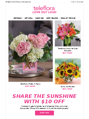 SUMMER IS HERE! Enjoy $10 Off at Teleflora