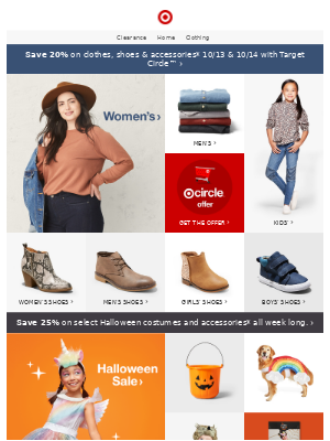 20% off clothes, shoes & accessories with Target Circle.