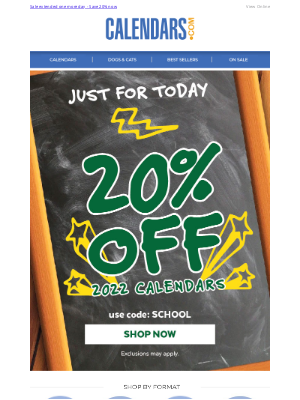 Calendars - Today Only: All 2022 Calendars are 20% off with code SCHOOL