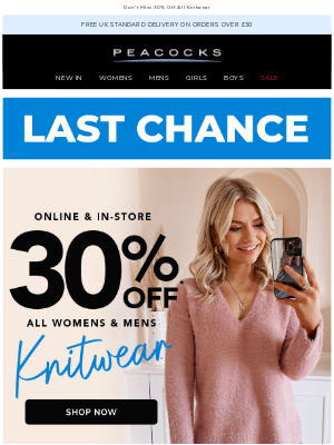 Peacocks (UK) - Last Chance To Save On Knitwear
