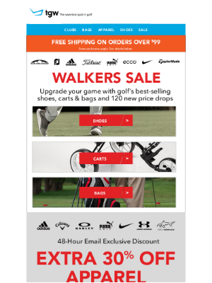 tgw - Walkers Sale And Extra 30% Off Apparel - Email Only!