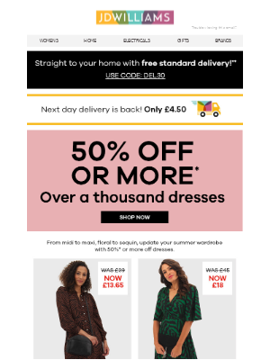 Get 50% off or more on over 1000 dresses! 👗