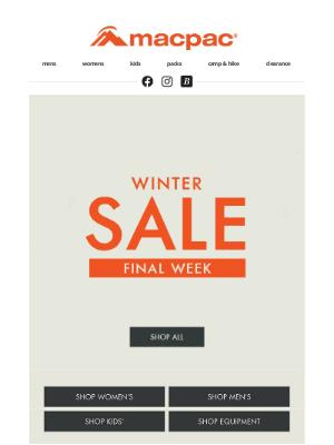 Macpac (New Zealand) - FINAL WEEK of Winter Sale!