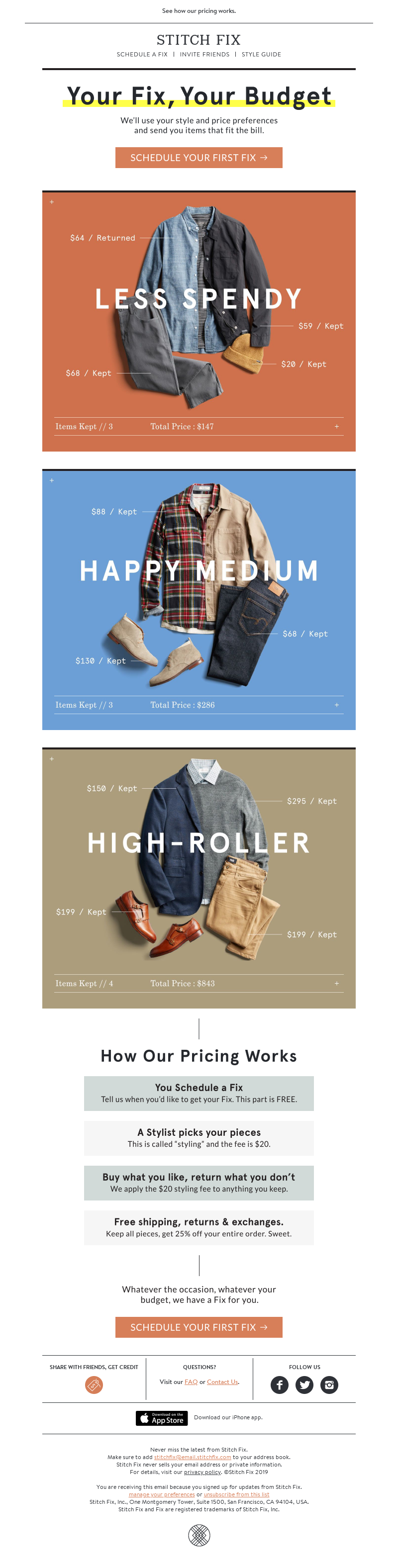 email example for apparel brand Stitch Fix