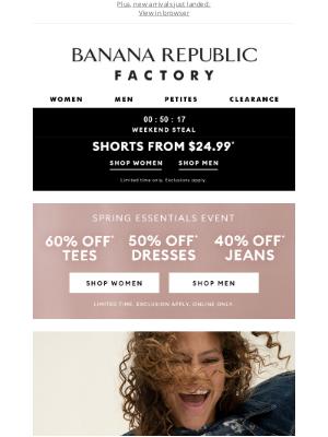 Banana Republic Factory - $24.99 shorts will be gone soon